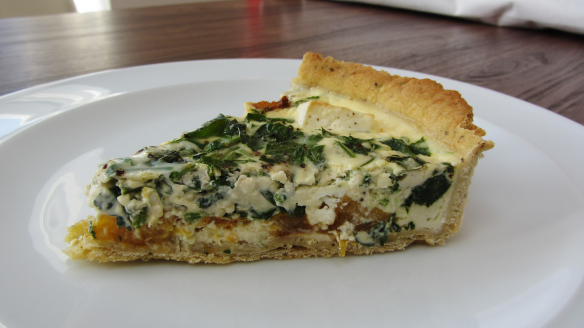 Creamy Pumpkin, Spinach and Feta Quiche
