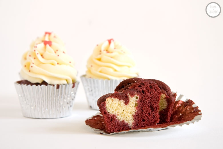 Red Velvet Heart Cupcakes - Crumbs and Corkscrews