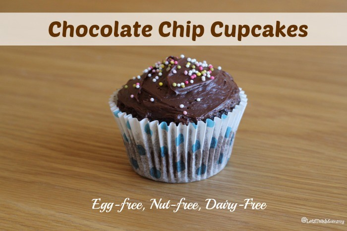 Egg-free, Nut-free, Dairy-Free Chocolate Chip Cupcakes