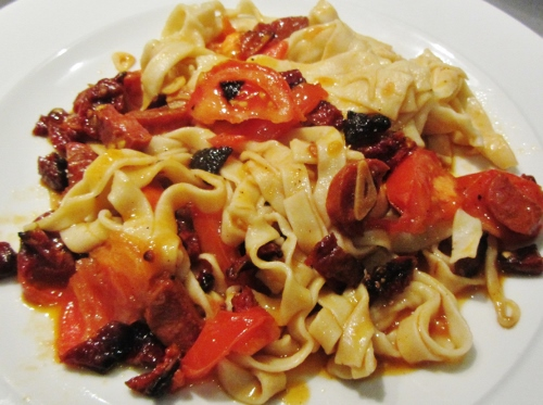 Tagliatelle with Chorizo, Garlic and Sundried Tomatoes