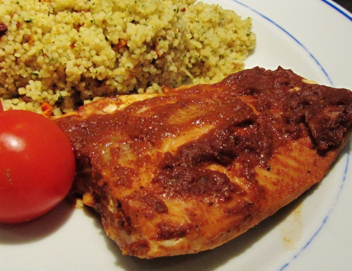 Salmon Marinated in Ketchup and Indian Spices