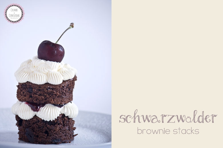 Black Forest Brownie Stacks - Crumbs and Corkscrews