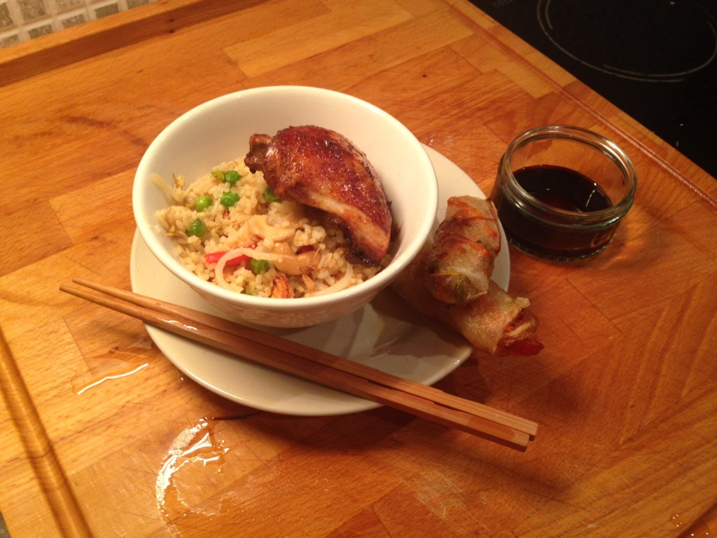 Fakeaway – Chinese Roasted Chicken, Veg Fried Rice and Spring Rolls