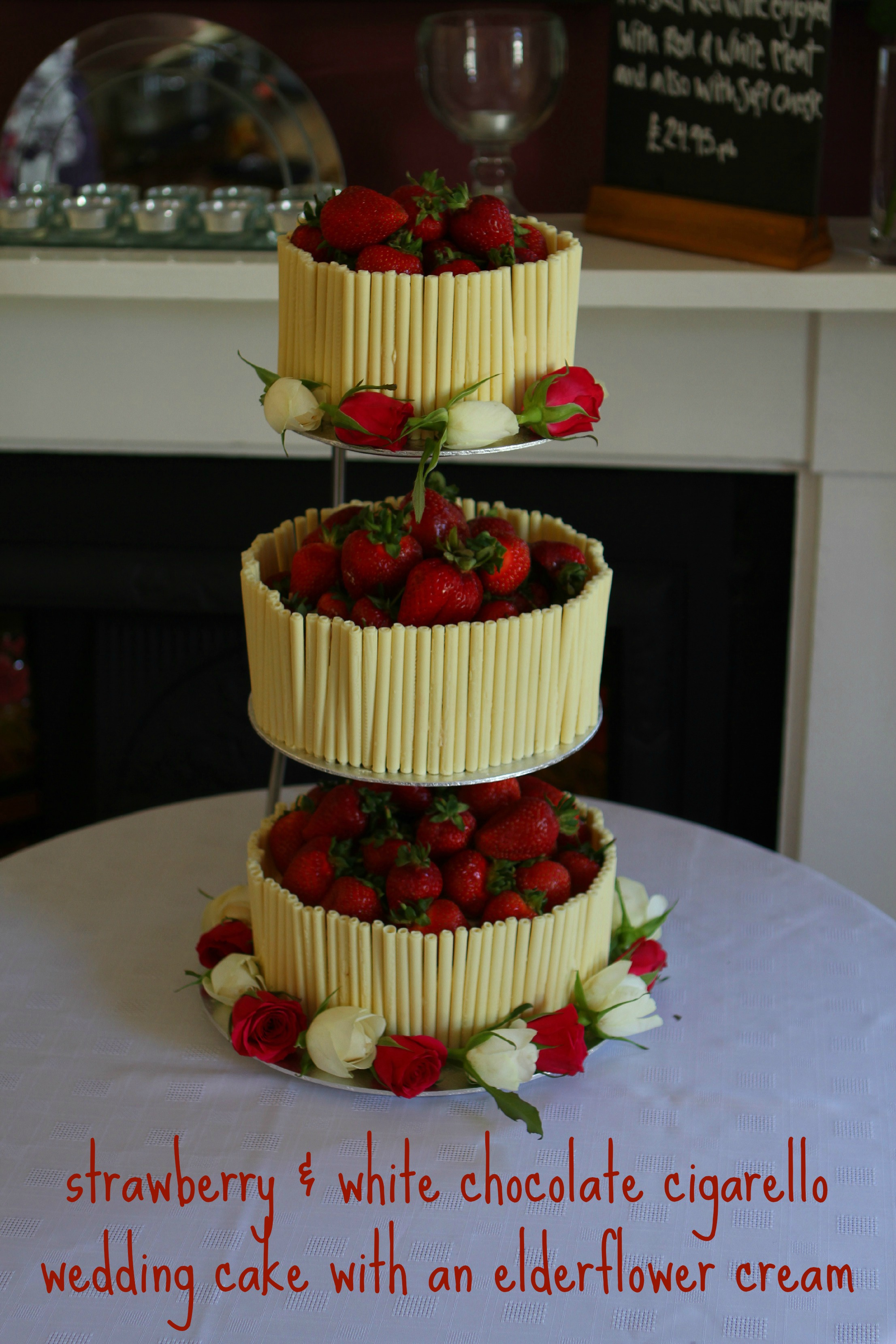Strawberry and White Chocolate Wedding Cake with an Elderflower Cream (GBBO #9)