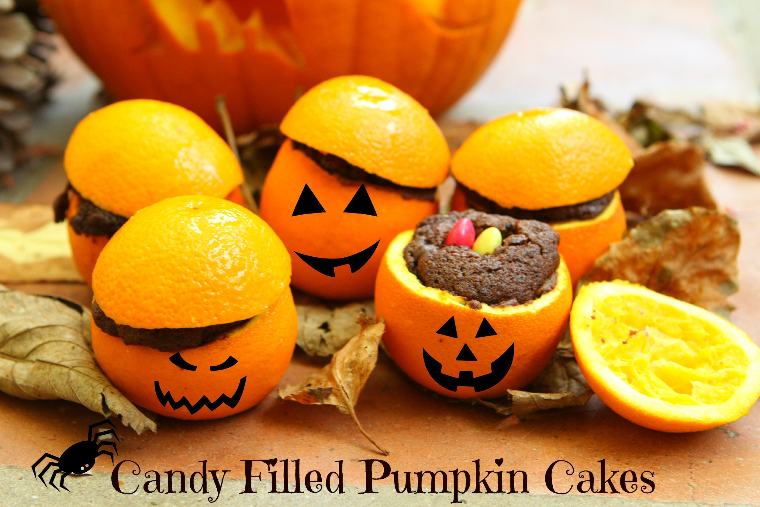 Candy Filled Pumpkin Cakes