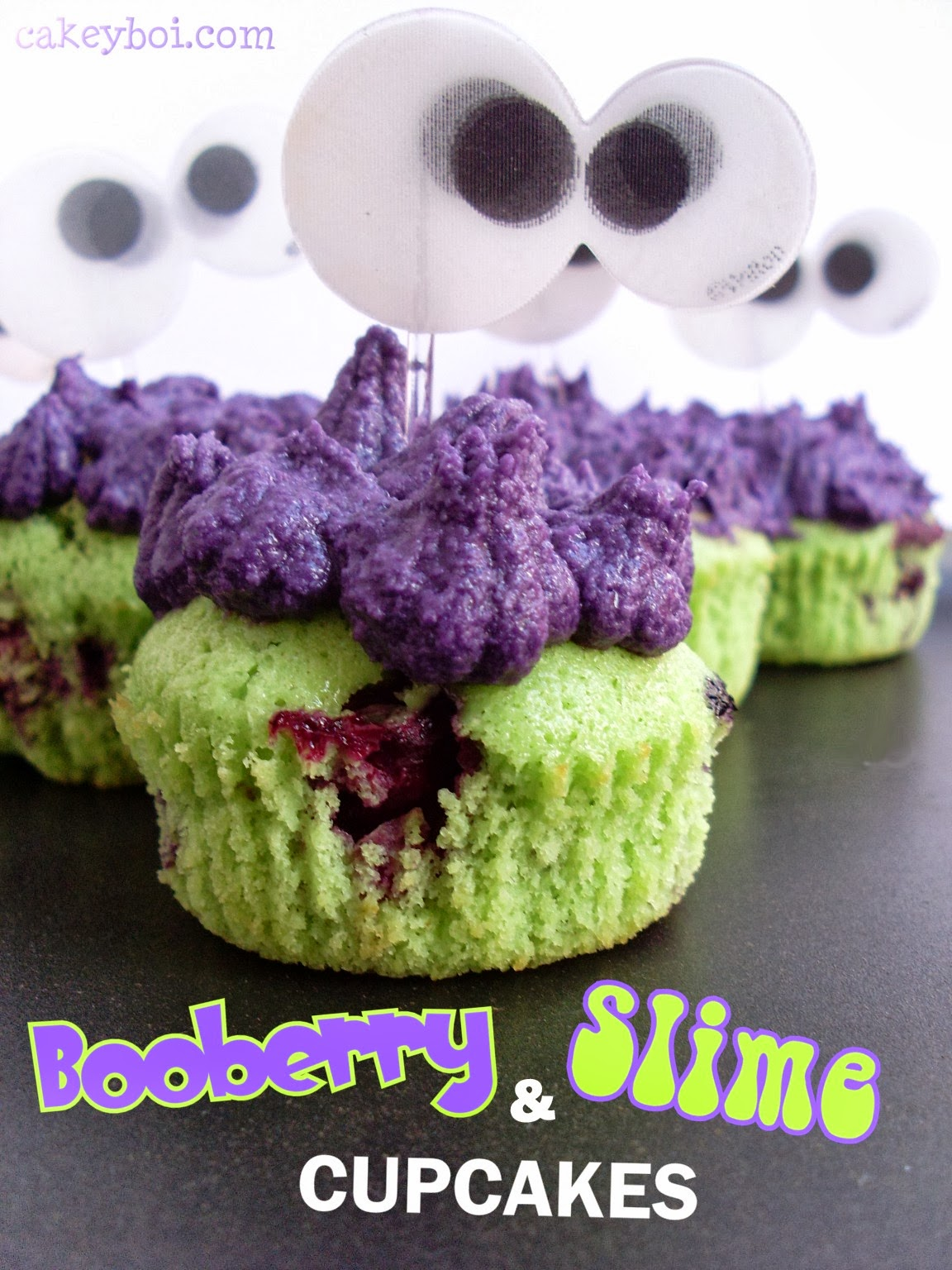 Booberry and Slime Cupcakes
