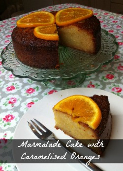 Marmalade and Almond Cake with Caramelised Oranges