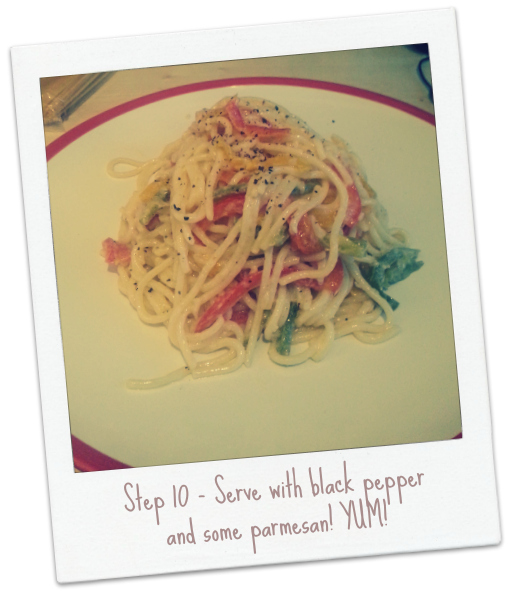 Spaghetti with Sparkling Wine Soaked Peppers and Crème Fraîche Recipe
