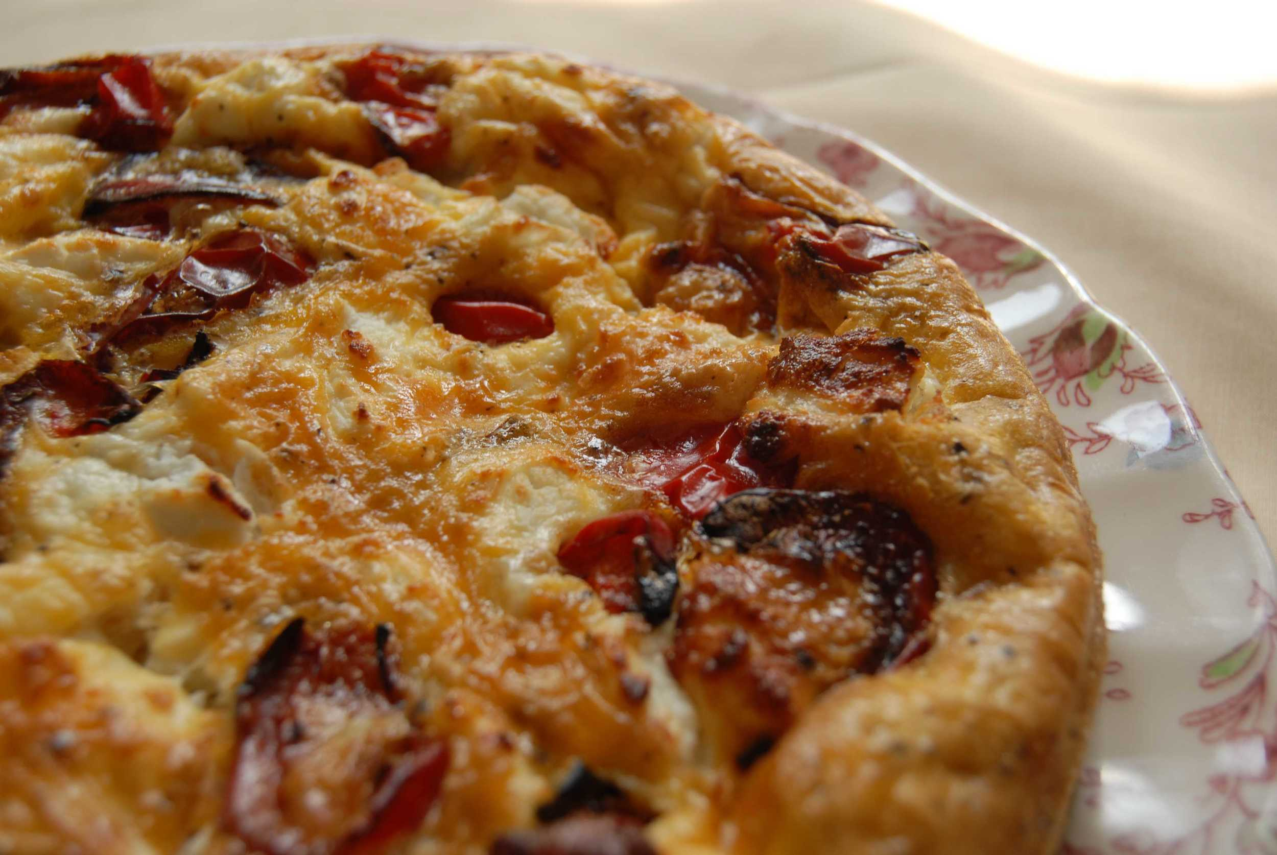 Red pepper and goats cheese quiche