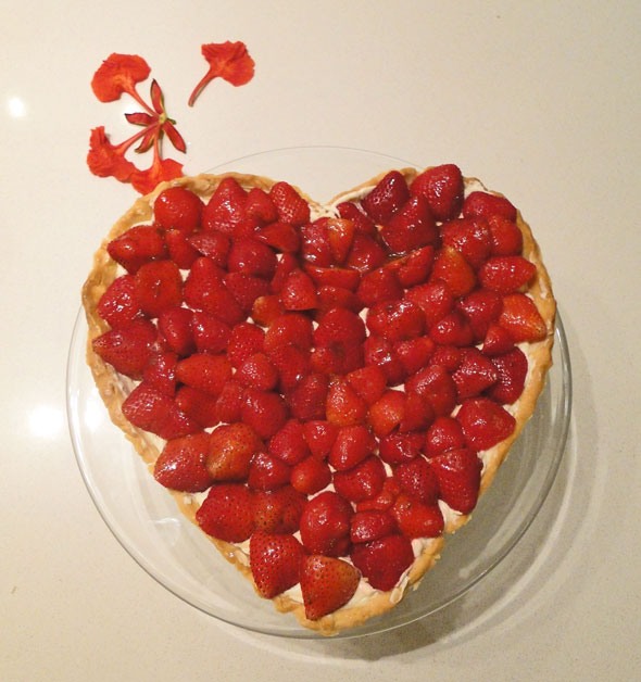 Strawberry tart heart love! - Over there to Here