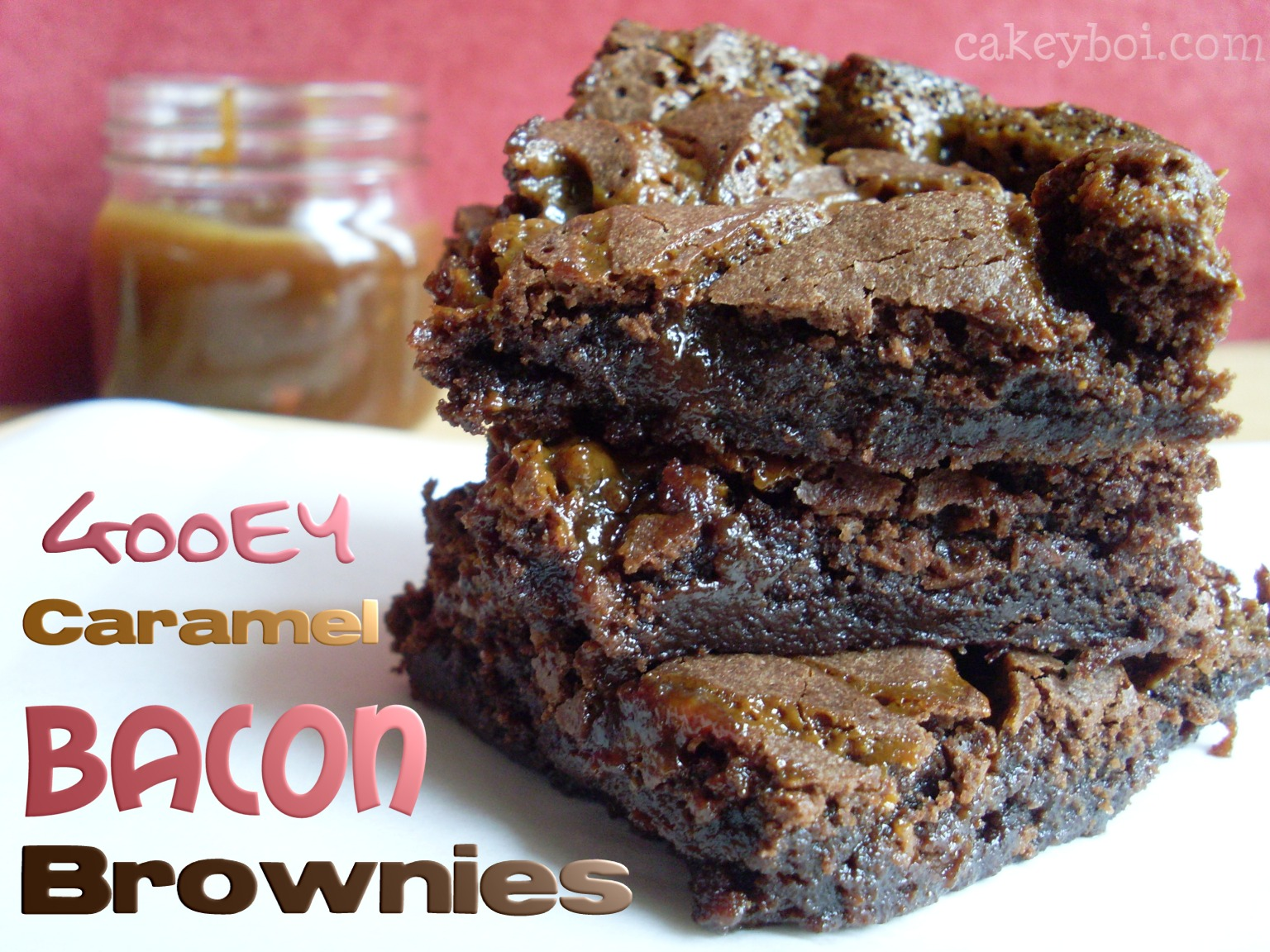 Gooey Caramel Bacon Brownies