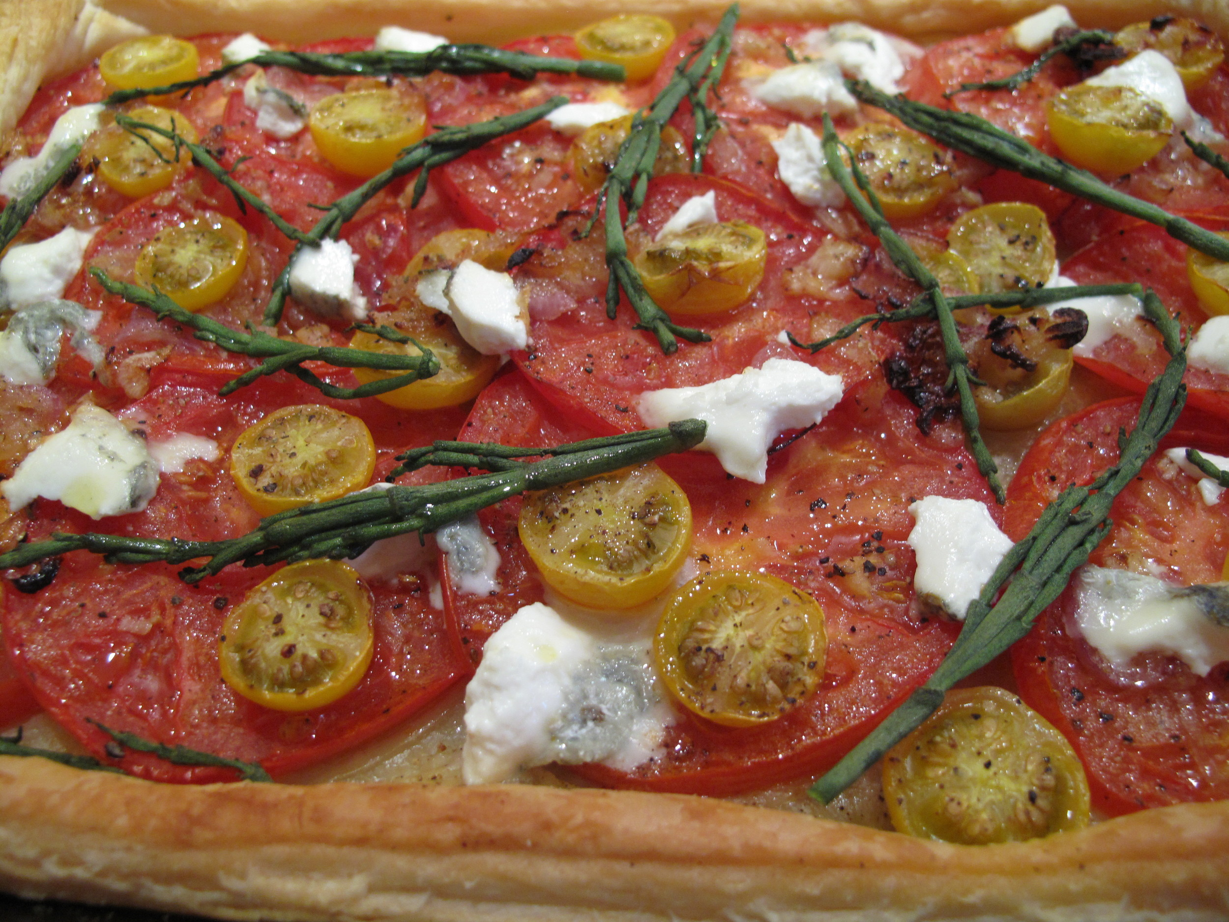 Fennel Goat's Cheese, Tomato and Samphire Tart