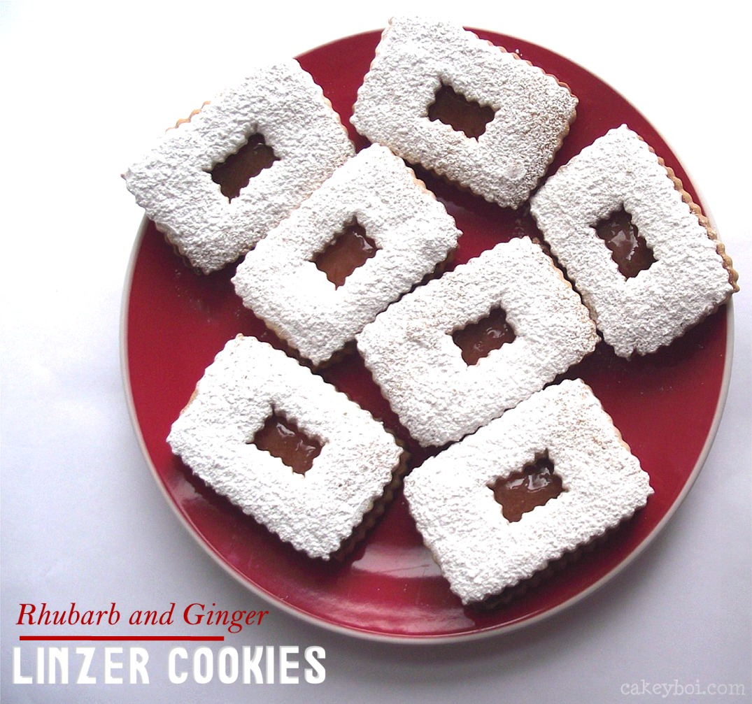Rhubarb and Ginger Linzer Cookies