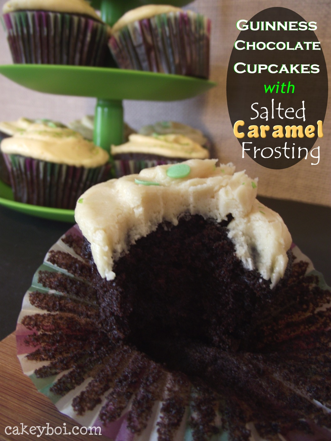 Guinness Chocolate Cupcakes with Salted Caramel Frosting