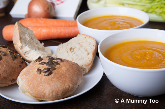 Butternut squash soup with crusty thyme and pumpkin seed rolls