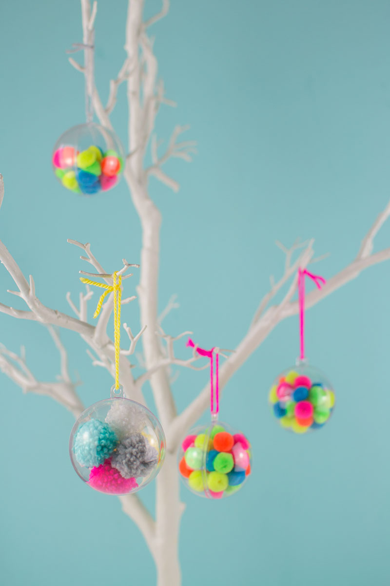 Make Your Own Pom Pom Christmas Baubles