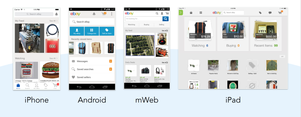 Our starting point: 4 mobile products with vastly differing user experiences.