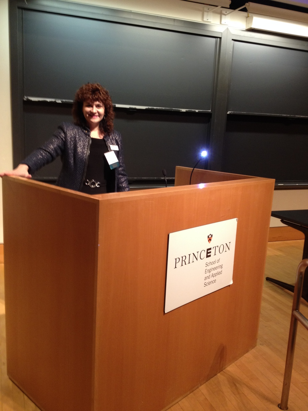 Karen at a keynote speech at Princeton University