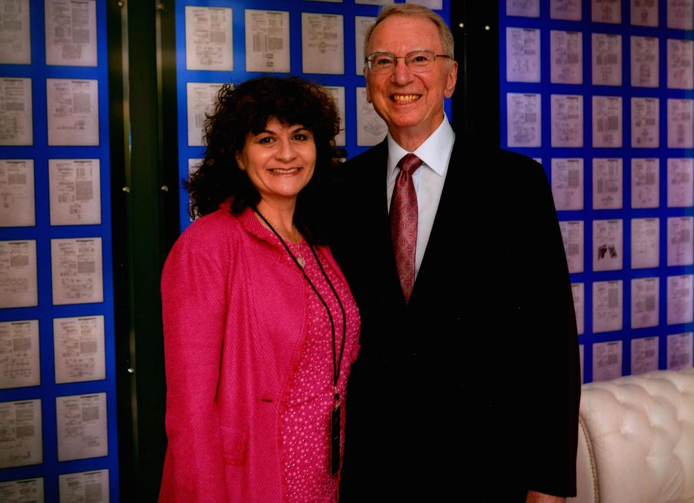 Karen with Irwin Jacobs, the co-founder of Qualcomm and an IEEE Medal of Honor winner