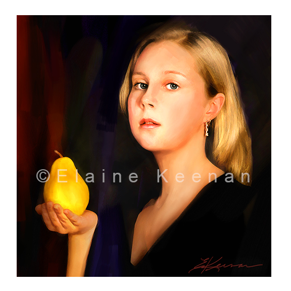 Girl with Pear & Earring