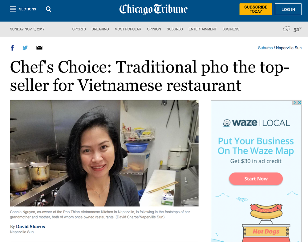 "We are truly blessed to be featured in a second article by the Naperville Sun and Chicago Tribune. In the ""Chef's Choice"" article, the  Naperville  Sun asks local chefs to share their culinary background and experiences and to talk about a featured dish found on their menu.   http://www.chicagotribune.com/suburbs/naperville-sun/ct-nvs-chefs-choice-st-1103-20171102-story.html"