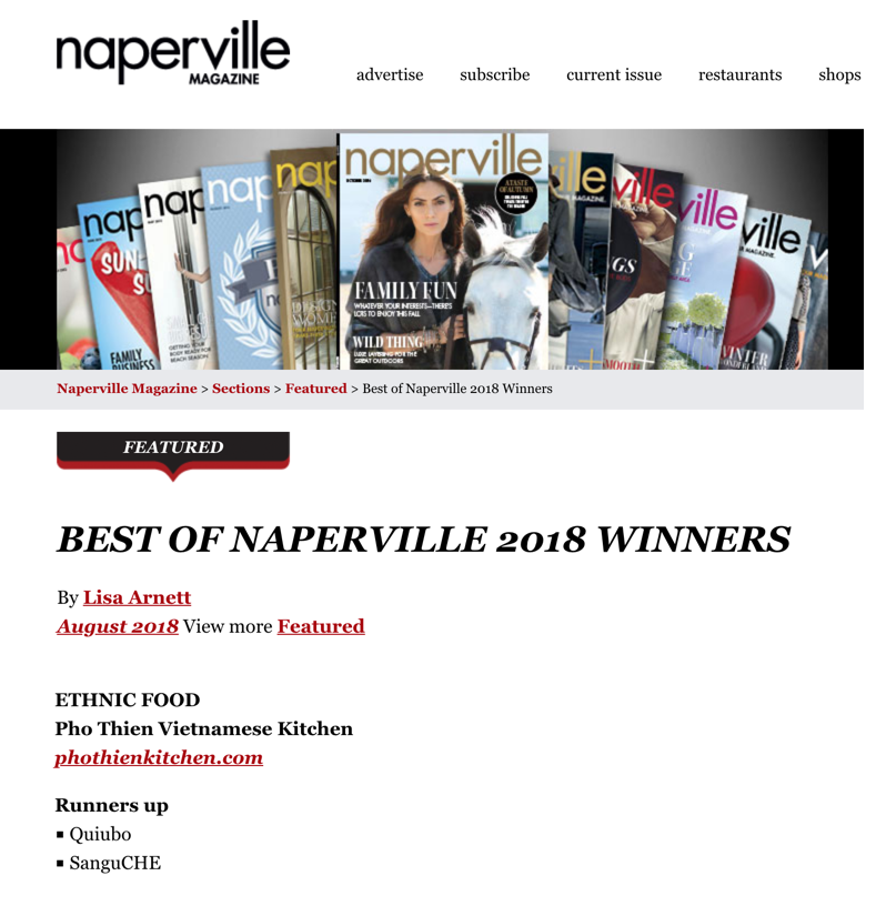 Best of Naperville Award Winner 2018 - Best Ethnic Food category