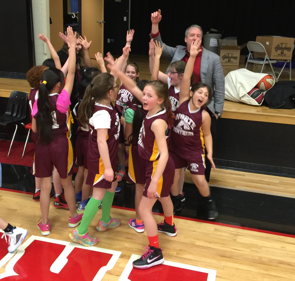 The North Elementary School Panthers, celebrating a last-second victory!
