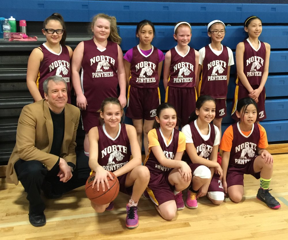 North Elementary School girls' b-ball team: team photo!