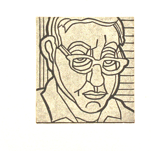 James Mullen  Self P , 2014 linocut 4 x 3.5 inches