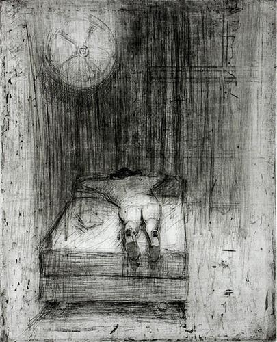 Sarah Sears  Mirit Sleeping,  2013 intaglio 13 x 11 inches
