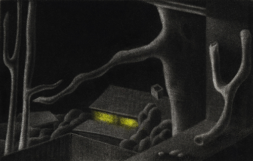 Arielle Coupe  The Witness , 2013 mezzotint 1.875 x 2.875 inches