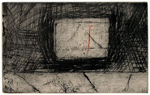 John Hankiewicz  The Box and the Vein and the Sidewalk , 2012 drypoint monoprint and chine collé 6 x 8 inches