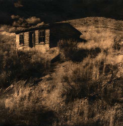 Rochell Slahorek  The House On The Hill , 2012 liquid emulsion on vellum over copper leaf 5.24 x 5.365 inches