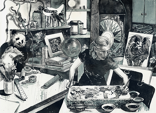 Caroline Thorington  Magician , 2013 lithograph 17 x 22.5 inches