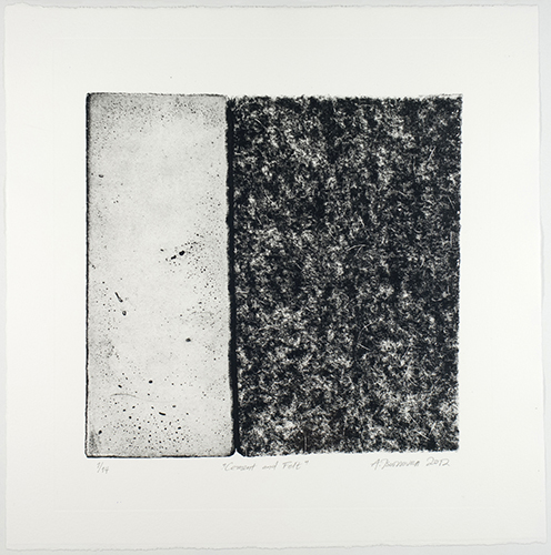 Aspasia Tsoutsoura  Cement and Felt , 2012 photo intaglio-type print 12 x 12 inches