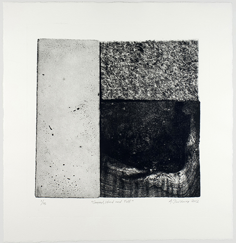 Aspasia Tsoutsoura  Cement, Wood and Felt , 2012 photo intaglio-type print 12 x 12 inches