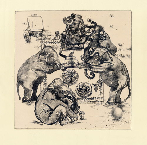 Caroline Thorington  Elephants' Picnic (state 2) , 2012 lithograph and chine collé 10.5 x 11 inches