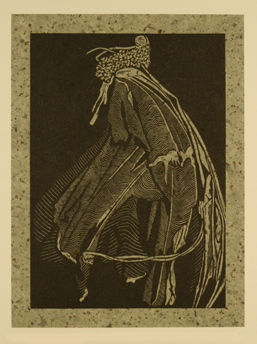Deborah Bryan  Detritus: Tattered Moth , 2011 wood engraving and chine collé 8 x 6 inches