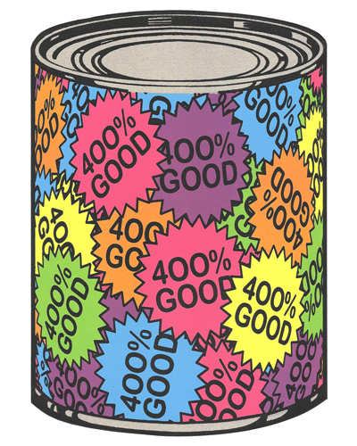 Jonathan Stewart  400% Good , 2012 screenprint on shaped paper 10 x 7 inches
