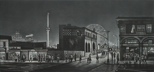Frederick Mershimer  Surf Avenue , 2012 mezzotint 9 x 19 inches