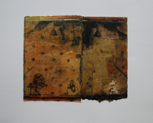 Mark Ritchie  Pulled Strings , 2010 lithograph and intaglio on beeswax saturated paper 11 x 15