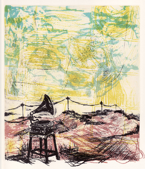 Nathan Abel  Recollection: Listening , 2011 Photo-lithograph and silkscreen 14 x 11 inches