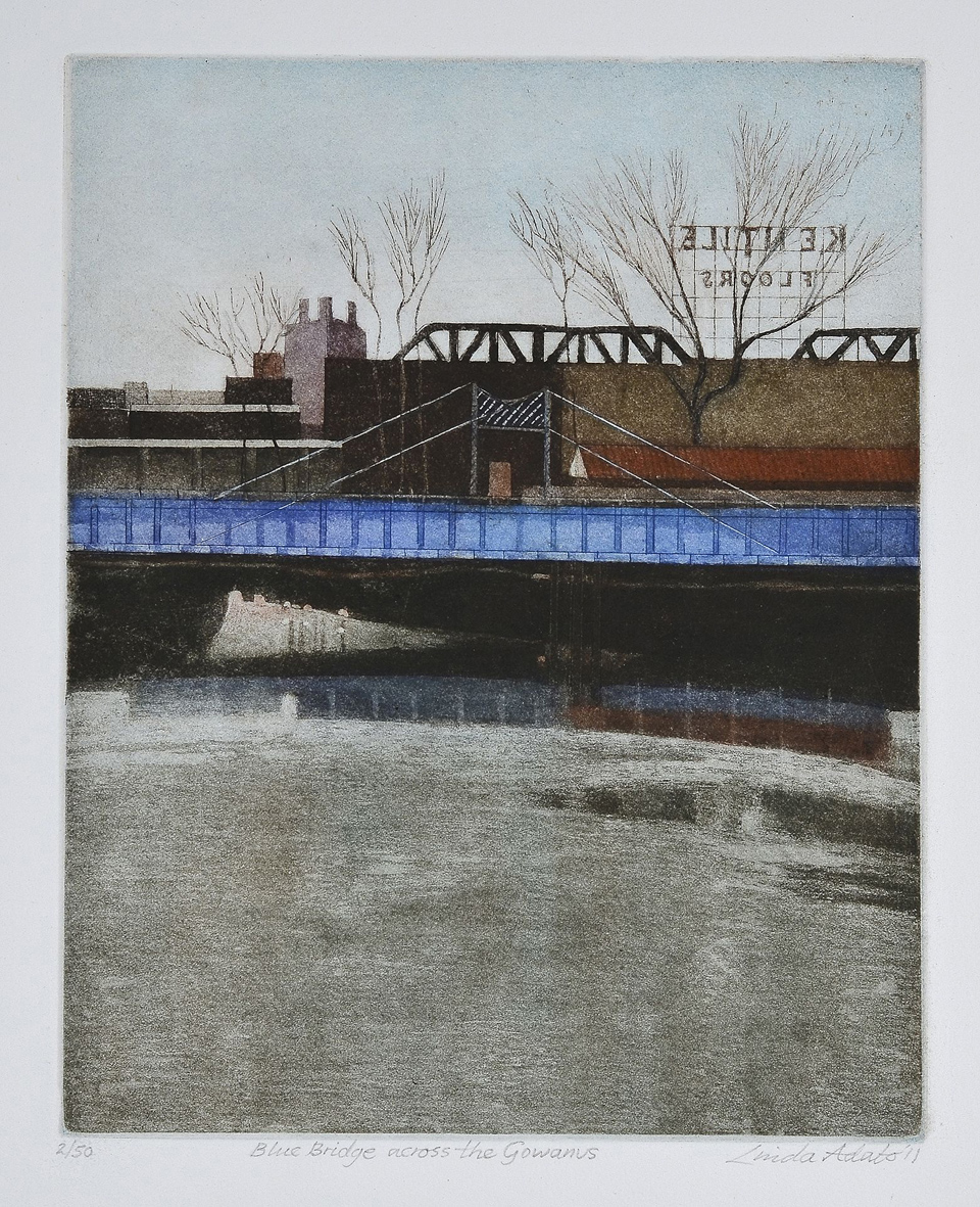 Linda Adato  Blue Bridge across the Gowanus , 2011 Color etching and aquatint 9.75 x 7.75 inches