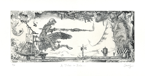 David Avery  A Ticket to Ride… ,2011 Etching 5 x 12 inches