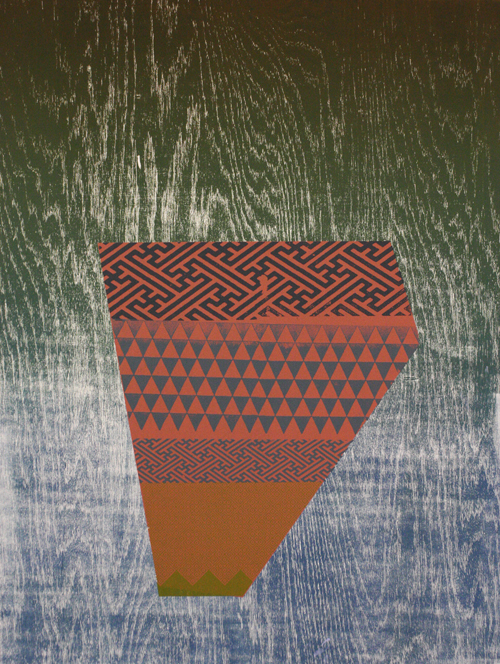 Dustyn Bork  Shard no.1 , 2011 Woodcut and silkscreen 24 x 18 inches