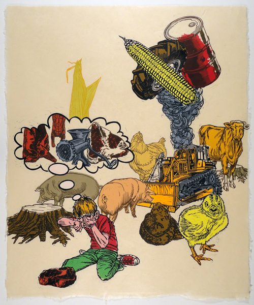 Brett Colley  Thinking With Our Teeth , 2011 Multi-block relief print 21 x 17 inches