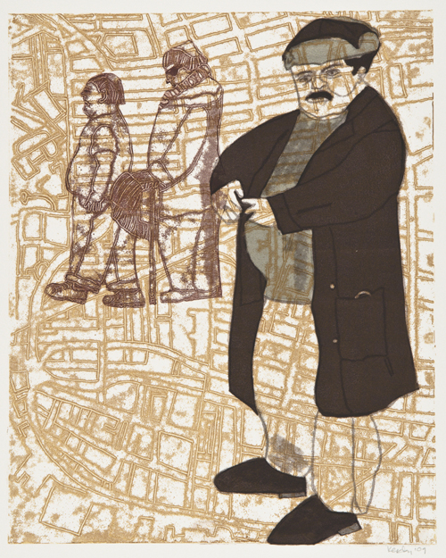 Leslie Kerby  REALProperty: Bronze , 2009 Trace monoprint 30 x 22 inches