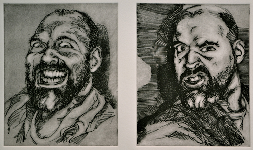 Peter Nuchims  Manic Moods , 2011 Intaglio 8 x 14 inches