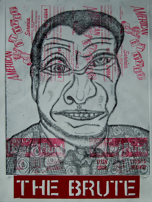 Bruce Thayer  The Brute , 2010 Intaglio and found graphic relief 26 x 20 inches
