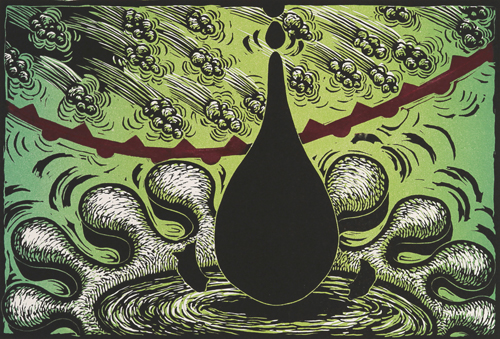 Judy Youngblood  Drip , 2010 Color linocut on paper 10.5 x 15.5 inches